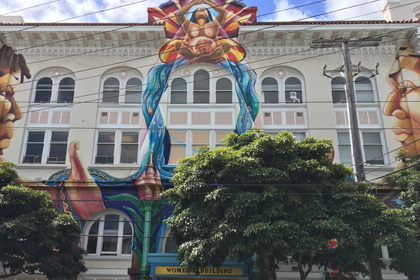 Meastra Peace Mural on the Women's Buillding, Mission District San Francisco