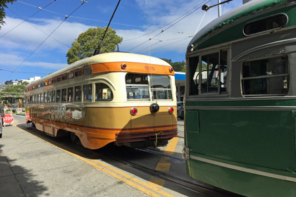 San Francisco streetcars on the F Line, Castro neighborhood