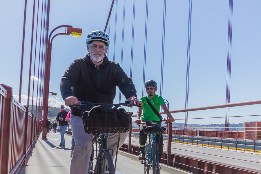 Cyclists riding on the Golden Gate Bridge, San Francisco