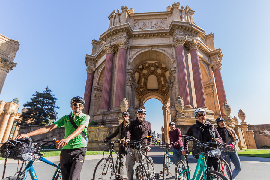 Guided bike tour stop at the Palace of Fine Arts, San Francisco